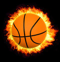 Basket ball on fire Royalty Free Stock Photography