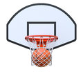 Basket ball in the hoop basketball kit with backboard net and d illustration Stock Photography