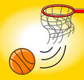 Basket ball in ring Stock Photography