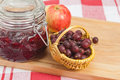 Basket with berries of a red gooseberry Royalty Free Stock Images