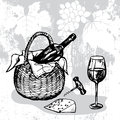 Basket with bottle of wine wineglass cheese and corkscrew hand drawn Royalty Free Stock Photo