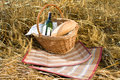 Basket with bread, food and wine bottle Royalty Free Stock Photo