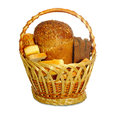 Basket with bread isolate isolated image of in the on a white background Royalty Free Stock Photo