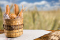 Basket of bread rolls overlooking a wheat field Royalty Free Stock Photo