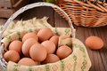 Basket of brown eggs closeup a full in a rustic farmhouse like setting horizontal format with shallow depth field Royalty Free Stock Images
