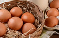 Basket of brown eggs closeup a full in a rustic farmhouse like setting horizontal format with shallow depth field Royalty Free Stock Photos