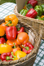 Basket of capsicums Stock Photo
