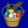 Basket with Christmas balls
