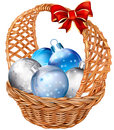 Basket with christmas balls holiday decorations vector illustration Royalty Free Stock Photo