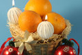Basket with christmas fruit, Royalty Free Stock Photo