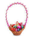Basket with christmas toys on a white background isolated Stock Photo