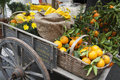 Basket citrus on an ancient chariot Royalty Free Stock Photo