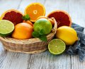 Basket with citrus fresh fruits Royalty Free Stock Photo