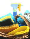 Basket with cleaning products Royalty Free Stock Photos