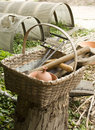 Basket with colonial tools Royalty Free Stock Photo