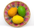 Basket of colorful Easter eggs isolated