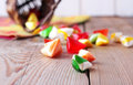 Basket with colorful sweet candies selective focus traditional seker bayram holidays Stock Photography