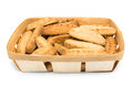Basket with cookies on white background Royalty Free Stock Photos