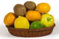 Basket with different tropical fruits isolated on white Royalty Free Stock Photo