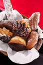 Basket of doughnuts Stock Photo