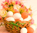 Basket with Easter eggs Royalty Free Stock Image