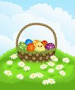 Basket with Easter eggs and chicken Royalty Free Stock Photo