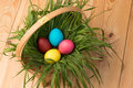 basket with Easter eggs with green grass on a wooden