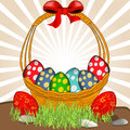 Basket with easter eggs illustration of a colorful Stock Photography