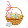 Basket with easter eggs isolated on a white background Royalty Free Stock Photo