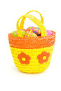 Basket of easter eggs over white Stock Photography