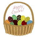 Basket with Easter eggs with painted ornaments. Congratulations on Easter. An ancient tradition of people. Vector illustration