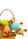 Basket with easter eggs roses flowers and green grass isolated on white Stock Photos