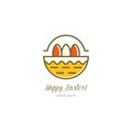 Basket with Easter eggs vector illustration