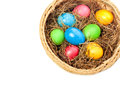 Basket with easter eggs the white background Stock Photo