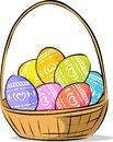 Basket With Easter Painted Egg Vector Illustration