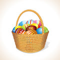 Basket with Eggs Stock Images