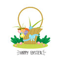 Basket with eggs flowers ribbon happy easter holiday concept vector illustration Stock Photos
