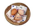Basket eggs and retirement egg with on euro bank notes Stock Images