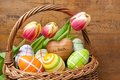Basket with eggs and tulips Royalty Free Stock Image