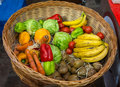 Basket Filled with Fresh Fruit and Vegetables