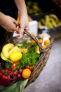 Basket filled healthy food Royalty Free Stock Images