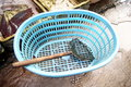 The basket and fishing tools Royalty Free Stock Photography
