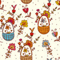 Basket floral seamless pattern Stock Images
