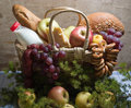 Basket with food Stock Photo