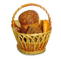 Basket with fresh bread isolate isolated image of in the on a white background Stock Image