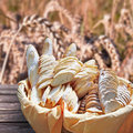 Basket of fresh bread, Royalty Free Stock Photo
