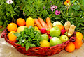 A basket of fresh fruit and vegetables Royalty Free Stock Photo