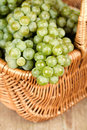 Basket with fresh green grapes Stock Photography