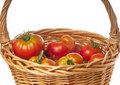 Basket of fresh Heirloom tomatoes Stock Photo