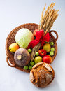 Basket with fruit, vegetables and bread Stock Image
